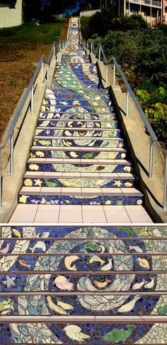 Stairway to Heaven: Climbing San Francisco's steep, steep hills is a little more fun with this pretty mosaic staircase, a collaboration between artists Aileen Barr and Colette Crutcher and a host of dedicated neighbors. (via Tiled Steps) Stairway To Heaven, Mosaic Stairs, Tiled Staircase, Mosaic Walkway, Winding Staircase, Spiral Staircases, Grand Staircase, Mosaic Glass, Mosaic Tiles