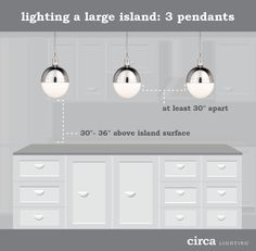 Kitchen Island Lighting Guide How Many Lights How Big How High - Large island pendants