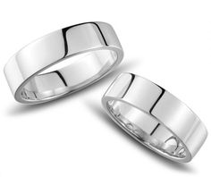 5 mm Wide Matching Couples Sterling Silver Wedding Rings Bands with High Polished Finish