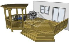 This deck design features an octagon that is covered by an overhead pergola inset into a larger base deck . The opposite half of the deck is neatly wrapped by a cascading staircase creating a broad traffic lane between the house and yard. Outdoor Spaces, Outdoor Living, Outdoor Decor, Free Deck Plans, Diy Deck, Decks And Porches, Building A Deck, Building Plans, Outdoor Furniture Sets