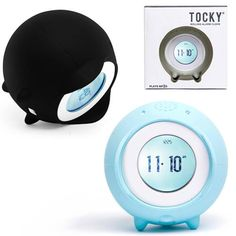 """TOCKY A tech savvy clock that knows his way around a bedroom! He'll leap or jump from your nightstand and roll away to get you out of bed. Record your own sounds. Wake-up to your mom's voice calling you to get up even when you're 3000 miles away. Upload your favorite MP3s. Touch sensitive interface. Spin your finger around the dial to change the time or track. 3.25"""" in diameter 3 AAA batteries (not included) $69.99 http://www.perpetualkid.com/tocky.aspx"""