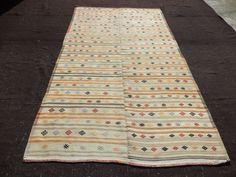 "Soft Color Large Turkish Kilim Rug,5,8""x10,6"" Feet 172x320 Cm Anatolian Area Flat weave Woven Kilim Rug,Vintage Turkish Kilim Rug."