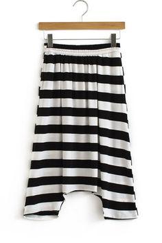 Cross Striped Harem Pants