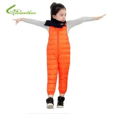 42.14$  Buy here - http://alipvs.worldwells.pw/go.php?t=32748571441 - Boys/Girls Down Pants Winter Warming Clothes Kids Solid Color Fitted Waist Jumpsuits Children Thick Down Vest Pants Windproof 42.14$