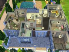 This family house is suitable for 5 Sims with four bedrooms, two bathrooms large kitchen and a pool in the garden. Found in TSR Category 'Sims 4 Residential Lots'