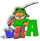 Alfabeto Garfield pescando.