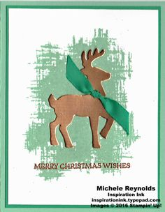 """Handmade Christmas card using Stampin' Up! products - Santa's Sleigh Photopolymer Stamp Set, You've Got This Stamp Set, Stampin' Emboss Powder, Foil Sheets, Santa's Sleigh Thinlits, and 3/8"""" Silky Taffeta Ribbon Combo Pack.  By Michele Reynolds, Inspiration Ink."""