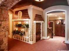 Indoor Toddler Playhouse - Ideas on Foter Kids Indoor Playhouse, Build A Playhouse, Indoor Playground, Toddler Playhouse, Childrens Playhouse, Playhouse Ideas, Wooden Playhouse, Under Stairs, Dream Rooms