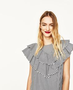 STRIPED POPLIN BLOUSE WITH FRILL-Blouses-TOPS-WOMAN   ZARA United States