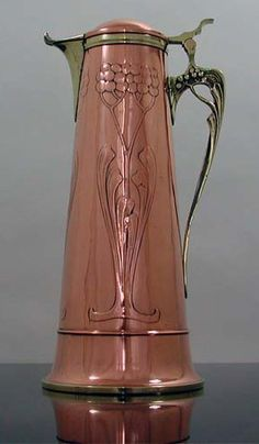 Art Nouveau Copper and Brass Wine Jug, Germany C 1905 (item #1155530, detailed views)