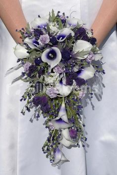 Beautiful Scottish Bridal Bouquet Picasso Lilies and Thistles Beautiful !