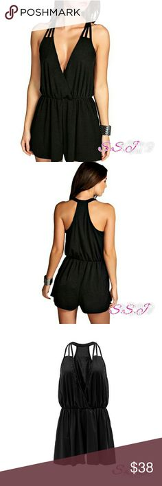 NEW ARRIVAL!!😍 Sexy  Black Halter Romper. Great for a casual look and can be dressed up for a night out. Material is polyester/terylene. boutique Pants Jumpsuits & Rompers