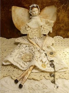 Angel Art Doll, Handmade of Paper Clay, Fabric Body, Vintage Crochet