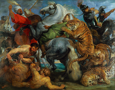 The Tiger Hunt is a Rococo Oil on Canvas Painting created by Peter Paul Rubens from 1615 to It lives at the Musée des Beaux-arts de Rennes in France. Peter Paul Rubens, Jeff Koons, Lion Hunting, Hunting Painting, Oil On Canvas, Canvas Art, Royal Academy Of Arts, Vintage Art Prints, Art History