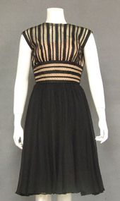 OUTSTANDING Chiffon & Striped Tulle 1960's Cocktail Dress