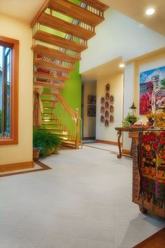 Porcelain Wood Tile on these stairs. Places, Stairs, Wood, Home, Flooring, Tile Floor, Porcelain Wood Tile, Wood Tile, Entry Tile