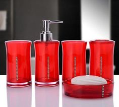 Beautiful-Day Acrylic Five Pieces Set Bath Wash Set Gift Bathroom Supplies Diamond Cup Brush Lovers Soap Dish Toothbrush Holder,H Red Bathroom Decor, Bathroom Interior Design, Bathroom Ideas, Bathroom Designs, Lotion, Bath Sign, Walk In Shower Designs, Tumbler Designs, Bathroom Accessories Sets