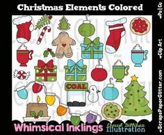 Christmas Elements Clip Art, Commercial Use, Clipart, Digital Image, Digital, Instant Download, Stocking, Gingerbread Cookies, Hot Cocoa by ResellerClipArt on Etsy