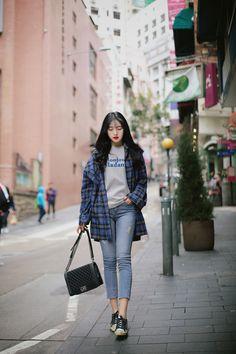 soho modern check shirt vintage cut daily denim c Korean Fashion Trends, Korean Street Fashion, Korea Fashion, Kpop Fashion, Ootd Fashion, Fashion Pants, Girl Fashion, Fashion Outfits, Korean Casual Outfits