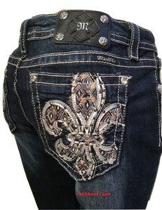 Miss Me Size 34 (17/18)Aztec Embellish Fleur De Lis Boot Cut Jeans JY8208BBV NWT #MissMe #BootCut
