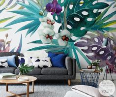 Wall Mural Orchid wall mural • Inspirations • PIXERSIZE.com A new take on the feature wall...perfect for my living room.