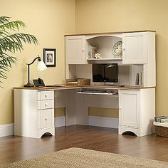 Home Office Design Ideas Design Guide: Creating the Perfect Home Office Small Home Office Decorating Ideas! Your Guide to Creating the Home Office of Your Dreams Home Office Design Ideas. White Corner Computer Desk, Small Corner Desk, Corner Desk With Hutch, L Shaped Corner Desk, Computer Desk With Hutch, Desk Hutch, Computer Desks, Office Desks, White Desk With Hutch