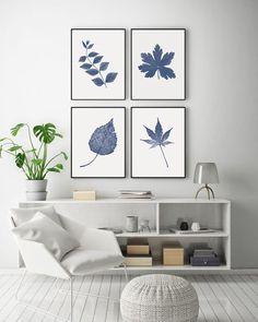 Blue Botanical Print Leaf Wall Art Set of 4 Navy Blue Print | Etsy