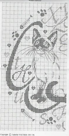 Calligraphy cat xstitch patt 2 of 3