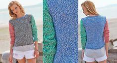 """Inspiré de la ficelle """"Bakers Twine"""" ce fil de coton transforme un pull classique en modèle tendance. A tricoter au point jersey et côtes 1/1.  Tailles : 36–38 (40–42/44–46) Le ..."""