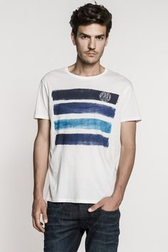 Cotton jersey T-shirt with round neck, front print. - Replay