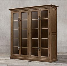 20th C. English Brass Bar Pull Glass 4-Door Cabinet