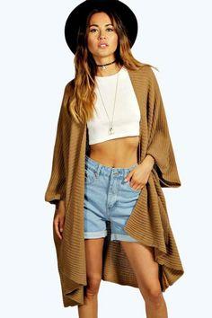 2fc5258d2b17c0 Boohoo Womens Flora Pocket Cape Cardigan One Size BNWT RRP 25.99 Camel   fashion  clothing