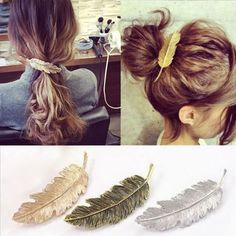Charme Vintage Leaf Feather Hair Pin Jewelry Women Hair Clip Barrette Bobby Pins
