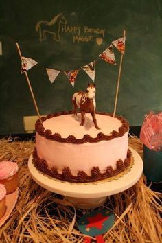 Misty of Chincoteague...if we create a cake bunting, we could replicate it around the party..Nana could make them with scraps!