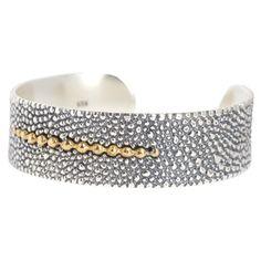 "Radiant Ray Cuff - Sterling Silver/Brass Mother's Day Sale $159 Regular Price $229  3/4"" Width, 2.5"" Diameter. Sterling Silver & Brass Cuff with Stingray pattern  www.mygraceandheart.com/LorrieC/"