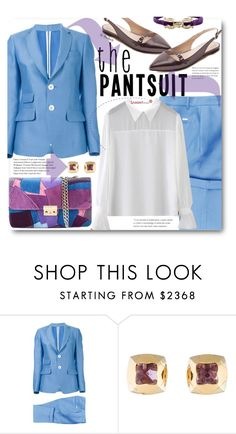 """""""The Pantsuit (work wear)"""" by beebeely-look ❤ liked on Polyvore featuring Dsquared2, Bulgari, Salvatore Ferragamo, WorkWear, flats, whiteshirt, sammydress and thepantsuit"""