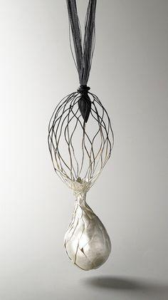 Eunju Park, Eunju Park Necklace: Germinate 3, 2007 925 silver, silk thread 280 x 610 x 300 mm
