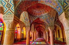 The Pink Mosque (Shiraz, Iran) - It's walls feature a beautiful and vibrantly colorful array of painted geometric tiles.   via sacred geometry & the flower of life