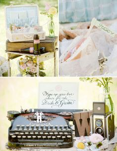Another wedding idea that could be adapted to a bridal shower. Gosh, would any of us know how to use a typewriter?? Love the idea of wedding guests typing a message to the bride and groom on a vintage typewriter. I have that OLD coooool black one you could use, I just would have to get an ink wheel.