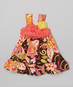 Take+a+look+at+the+Youngland+Coral+Floral+Ruffle+Babydoll+Dress+-+Infant+&+Toddler+on+#zulily+today!