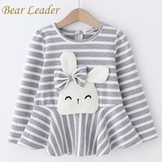 Long Sleeve Cartoon Rabbit Kids Striped T-Shirt, , Baby Girl Fashion, Baby Outfits, Kids Outfits, Kids Fashion, Baby Girl Fashion, Little Girl Dresses, Sewing For Kids, Sewing Clothes, Kind Mode, Look Cool