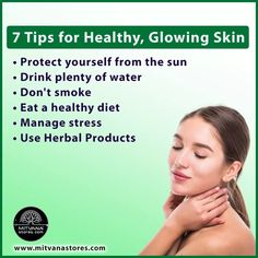 Follow these tips for healthy and glowing #skin. Moisturiser, Cleanser, Drink Plenty Of Water, Stress Management, Good Skin, Glowing Skin, The Balm, Herbalism, Skin Care