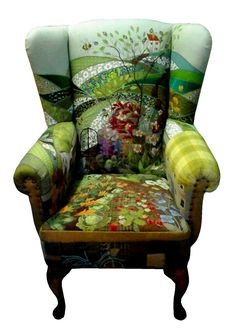Great upcycle for a boring white or faded blue chair.