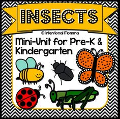 Insects and Bugs, printable mini-unit worksheets for pre-k, kindergarten, homeschool. Science facts, math, language, handwriting, fine motor skills, and more.