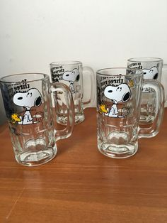 Snoopy 4 glass mugs by HollyWouldFind on Etsy