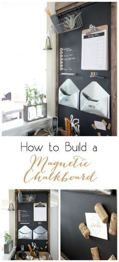to Build a Magnetic Chalkboard - perfect idea to organize your family! Love this rustic, industrial command center!How to Build a Magnetic Chalkboard - perfect idea to organize your family! Love this rustic, industrial command center! Kitchen Chalkboard, Magnetic Chalkboard, Chalkboard Command Center, Chalkboard Walls, Chalk Board Kitchen Wall, Chalk Board Wall Ideas, Magnetic Whiteboard, Large Chalkboard, Chalkboard Decor