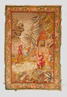 Große Stickerei mit Chinoiserie 19. Jh., feine Petit-Point-Stickerei in Wolle und Seide auf Strami
