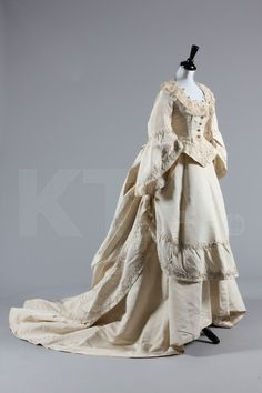 Bridal Gown 1871, Made of silk faille and lace