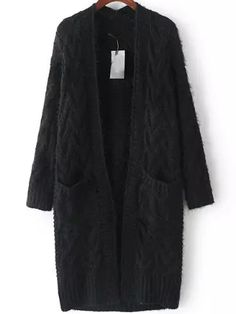 Black Long Sleeve Cable Knit Pockets Cardigan 29.67