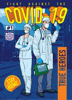 Coronavirus hq - true heroes Premium Vec... | Premium Vector #Freepik #vector #cover Pop Art Comic, Retro Painting, Medical Artwork, Art Drawings For Kids, Amazing Art Painting, Superhero Poster, Comic Poster, Cute Doodle Art, Hero